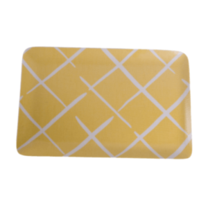 Yellow trellis-print tray