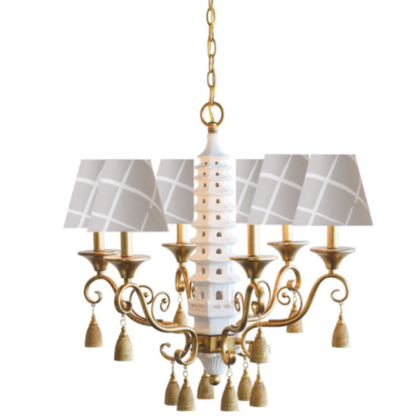 Grey Lattice Pagoda Chandelier