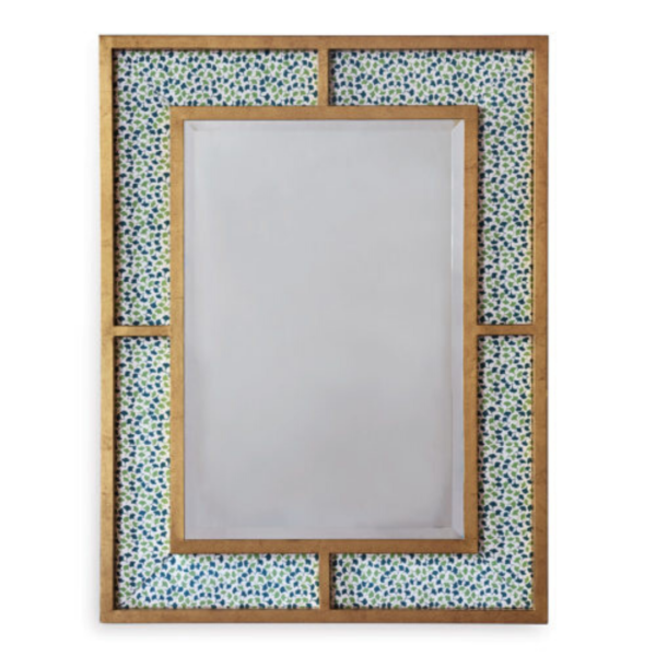Upholstered Gold-Leaf Mirror