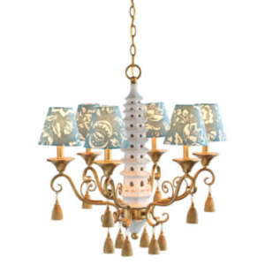 Blue Block-Print Pagoda Chandelier