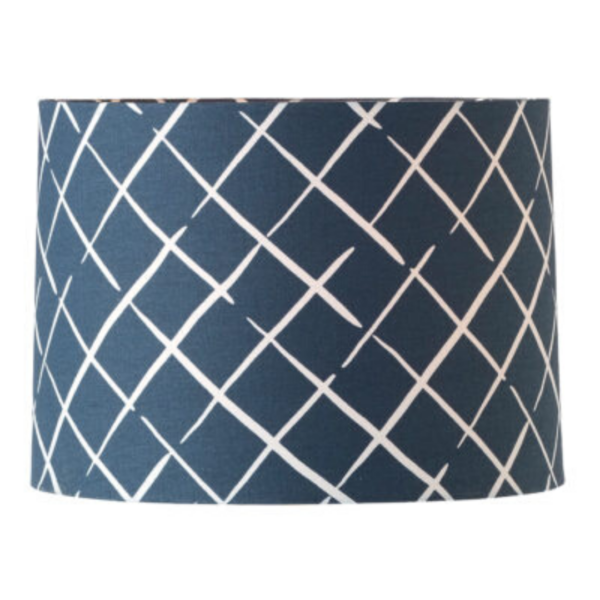 Blue Lattice-Print Drum Lampshade