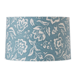 Blue Block-Print Drum Lampshade