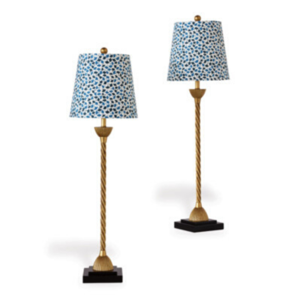 Blue Ginkgo-leaf buffet lamp