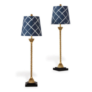 Blue Lattice Buffet Lamps