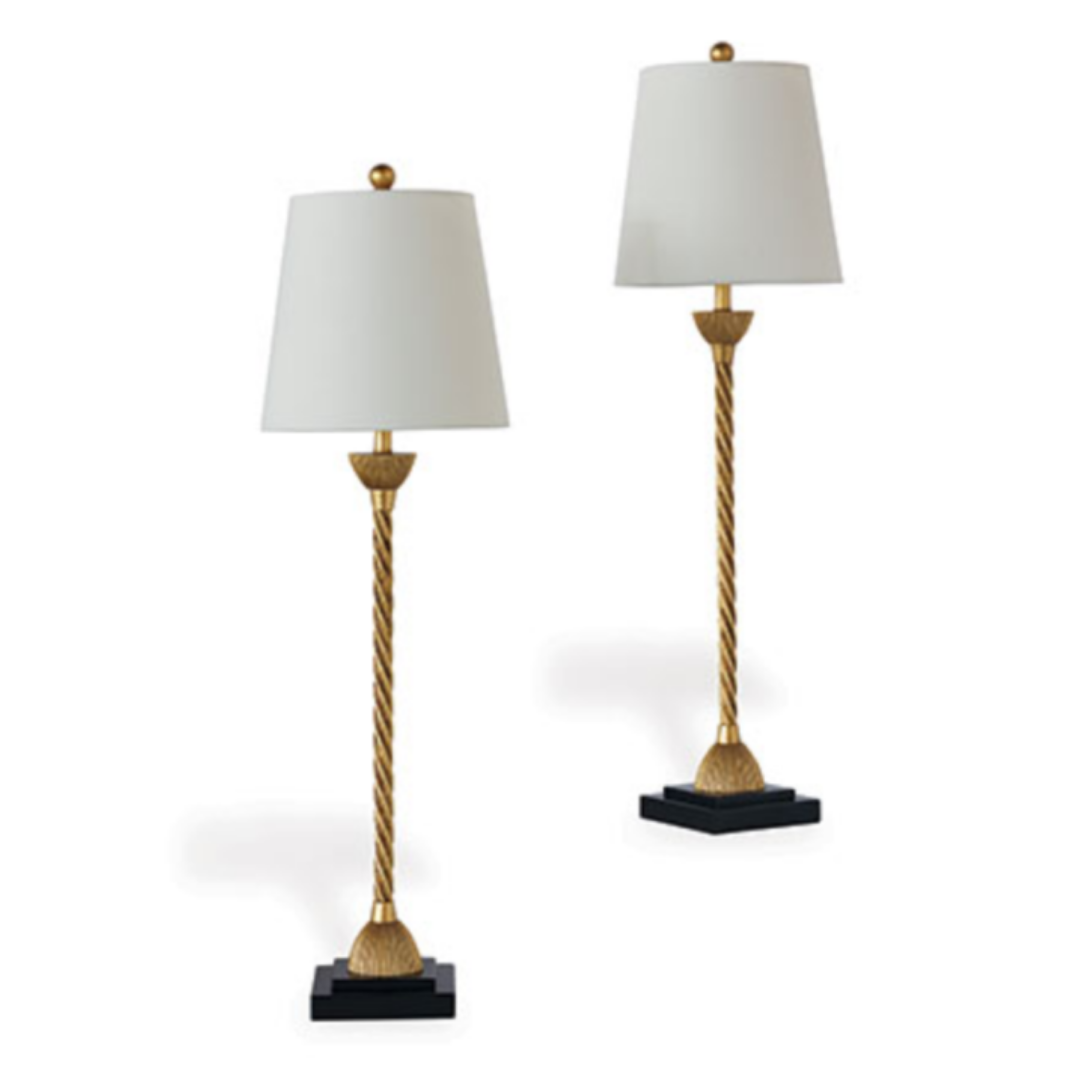 Gold Metal Twist Buffet Table Lamps Featuring Blue Lattice Print Lampshades Pair