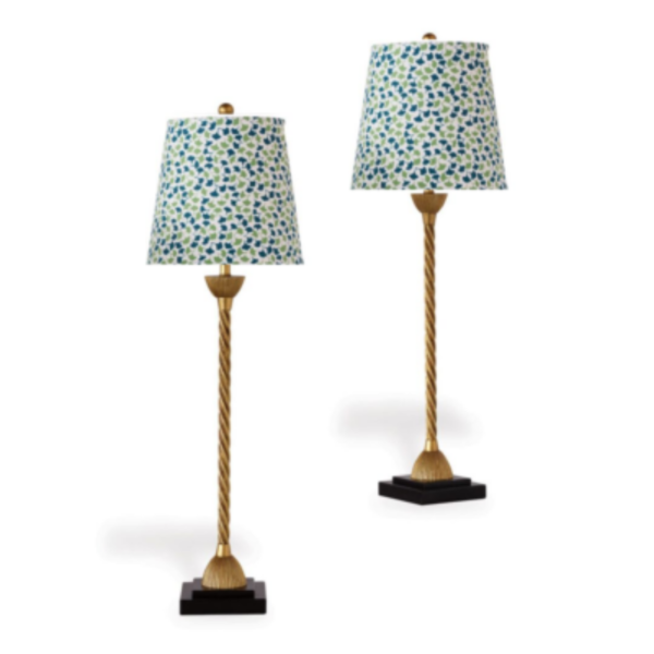 Green Ginkgo-Leaf Buffet Lamps