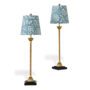 Blue Floral Buffet Lamps
