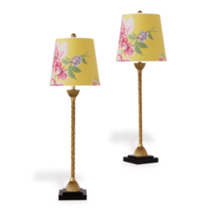 Yellow Floral Buffet Lamps