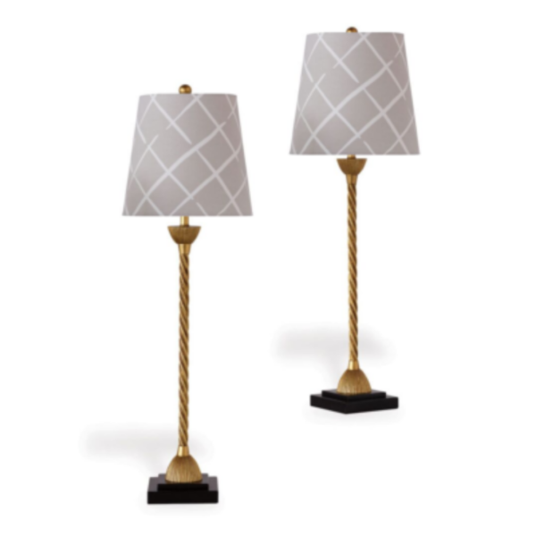 Grey Lattice Buffet Lamps