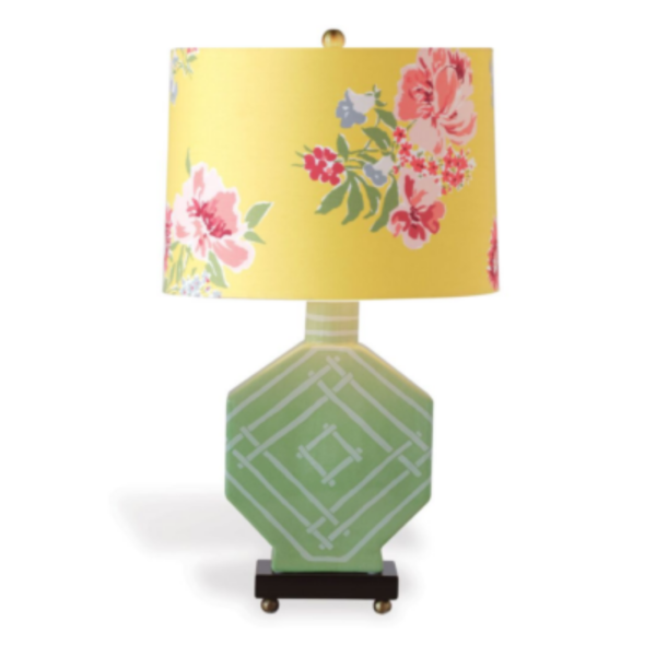 Palm-Green Fretwork Table Lamp