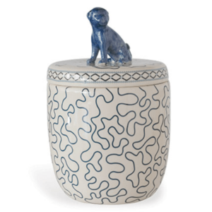 blue lidded pug jar