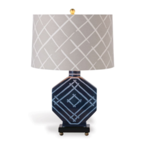 Indigo-Blue Fretwork Table Lamp