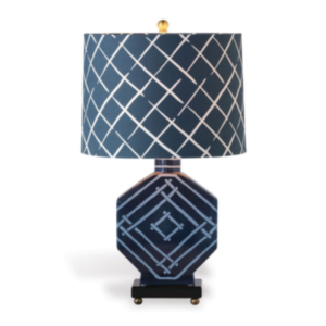 Indigo-Blue Fretwork Lamp