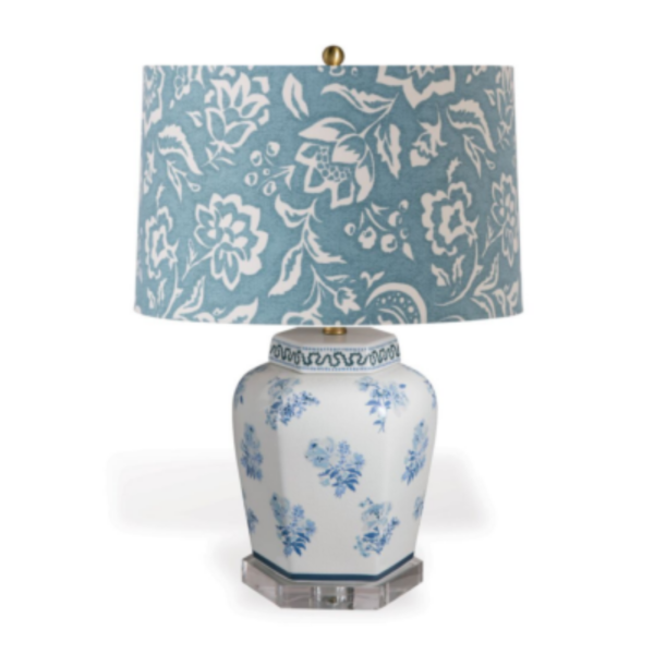 Blue Floral Table Lamp