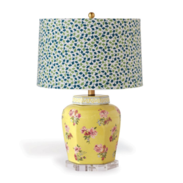 Daffodil-Yellow Floral Table Lamp