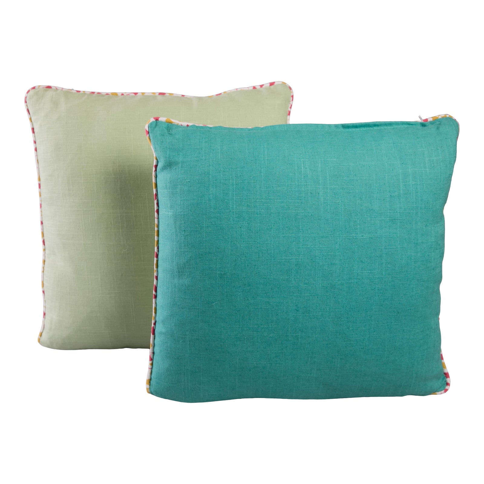 Contemporary Turquoise And Green Linen Pillow Covers A Pair