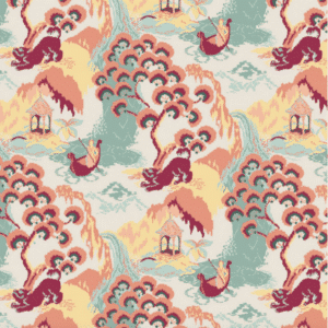 Road to Canton Peach Fabric by the Yard
